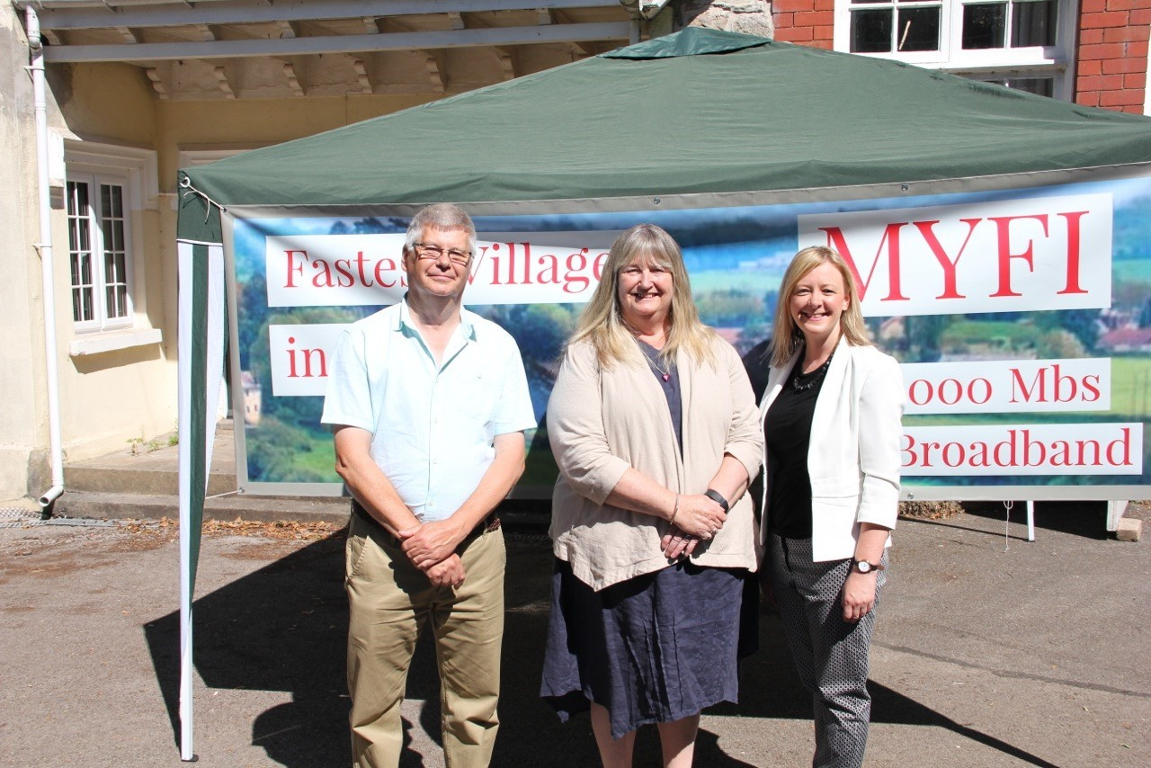 David Schofield, a director of the Michaelston y Fedw Internet Community Interest Company, Julie James AM and Jayne Bryant, AM for Newport West