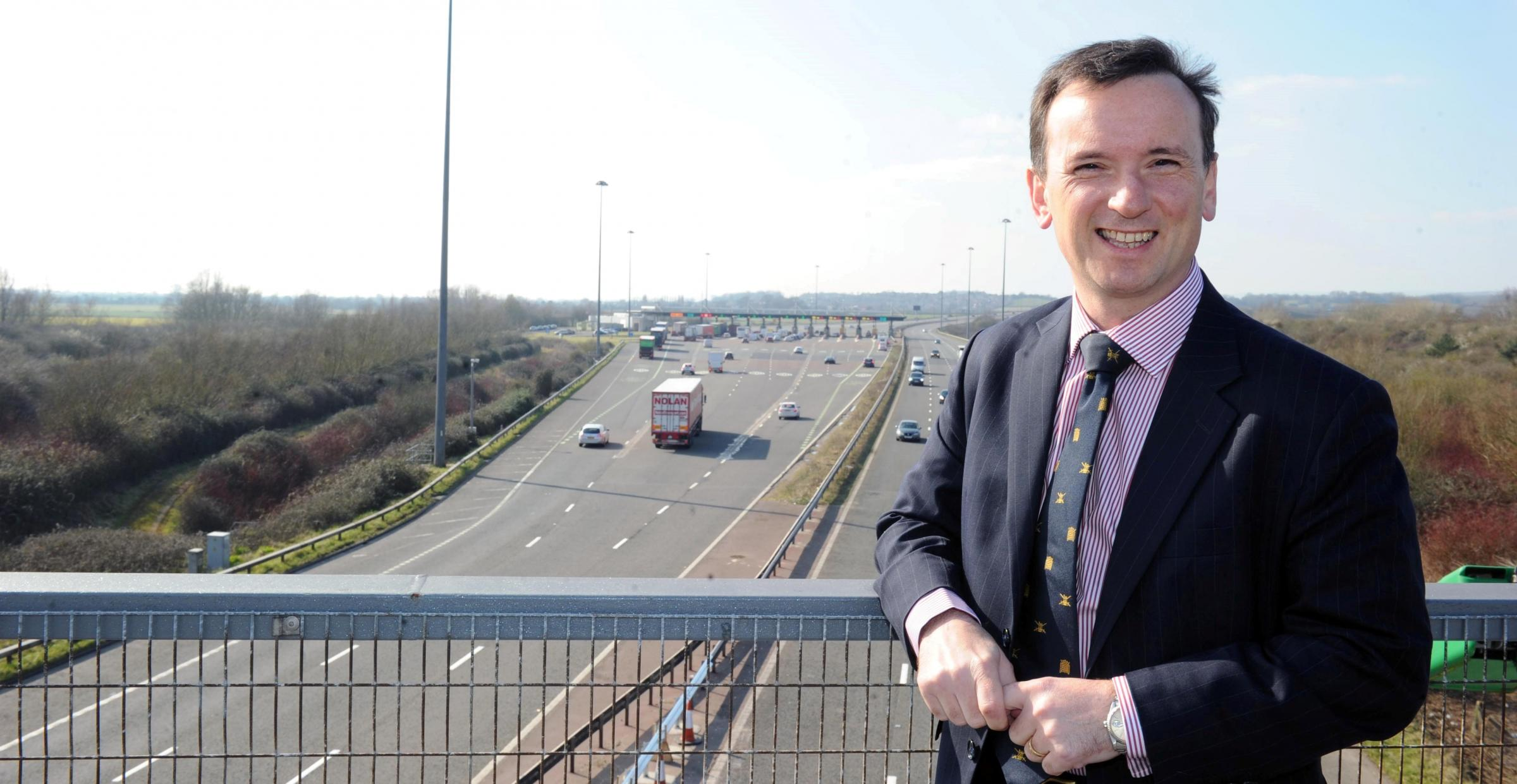 Alun Cairns at the tolls booth on the second Severn Crossing.