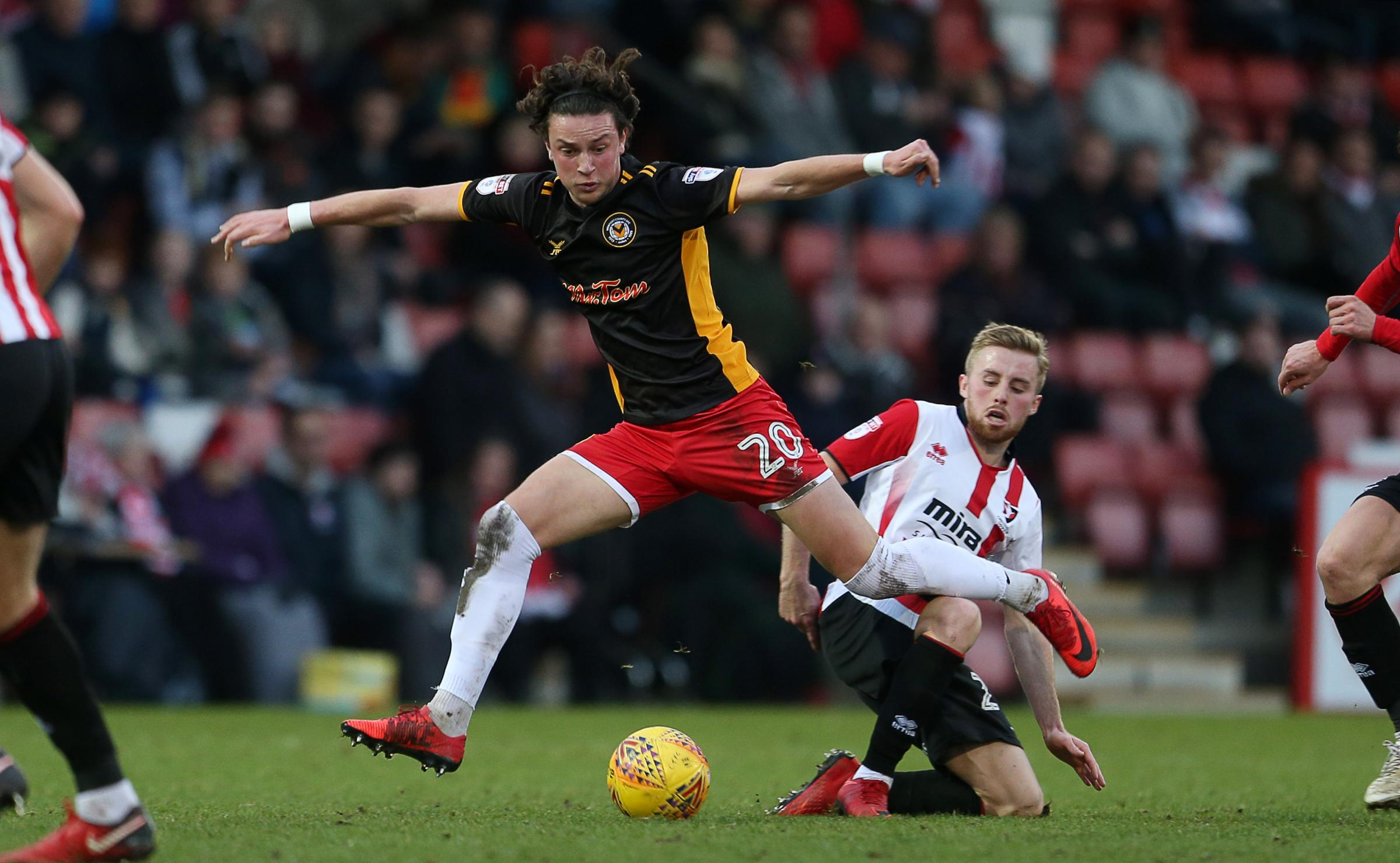 GONE: Academy graduate Tom Owen-Evans in action for Newport County at Cheltenham Town last season