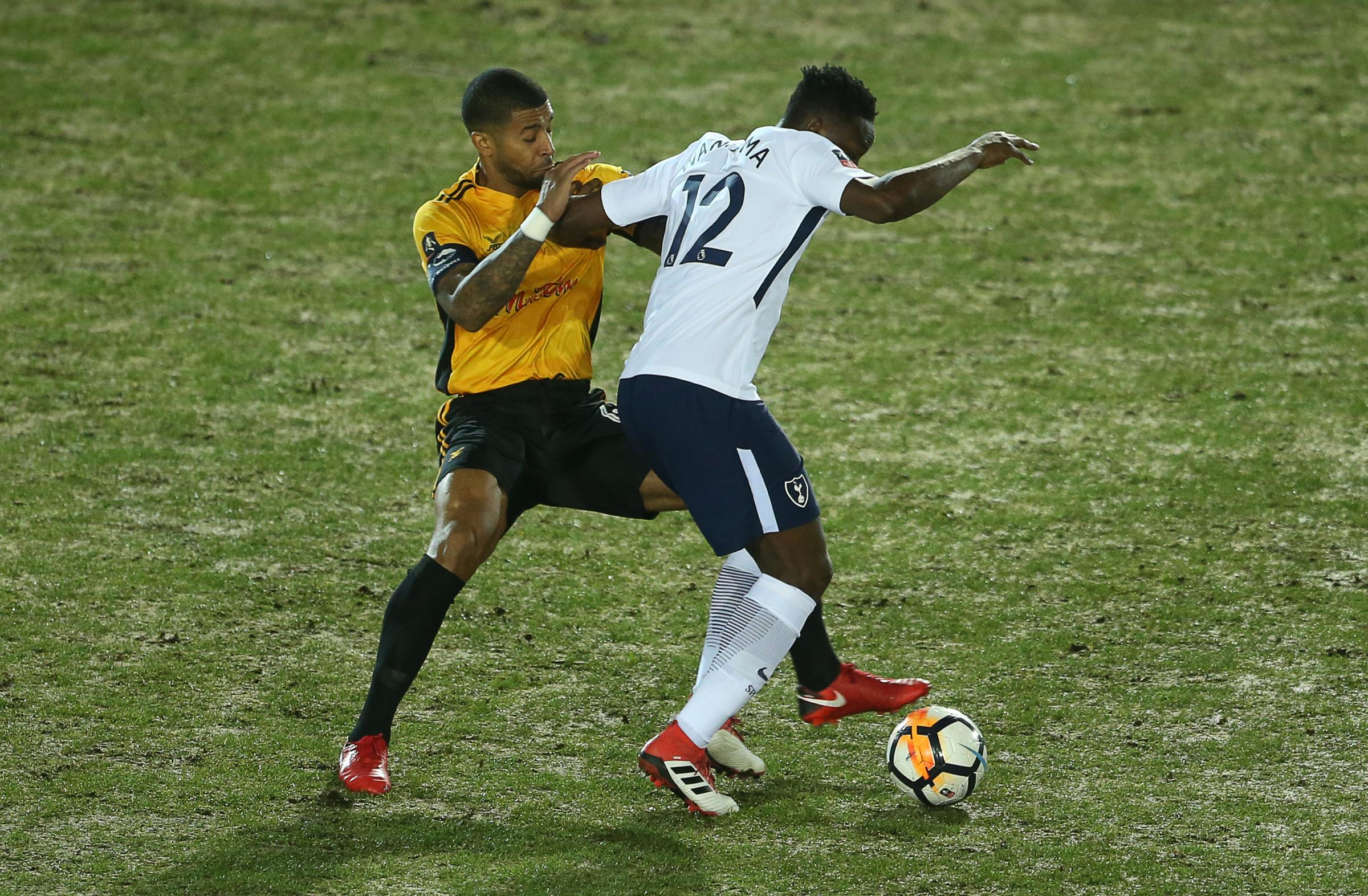 SKIPPER: Newport County captain Joss Labaide in action against Tottenham Hotspur's Victor Wanyama in January
