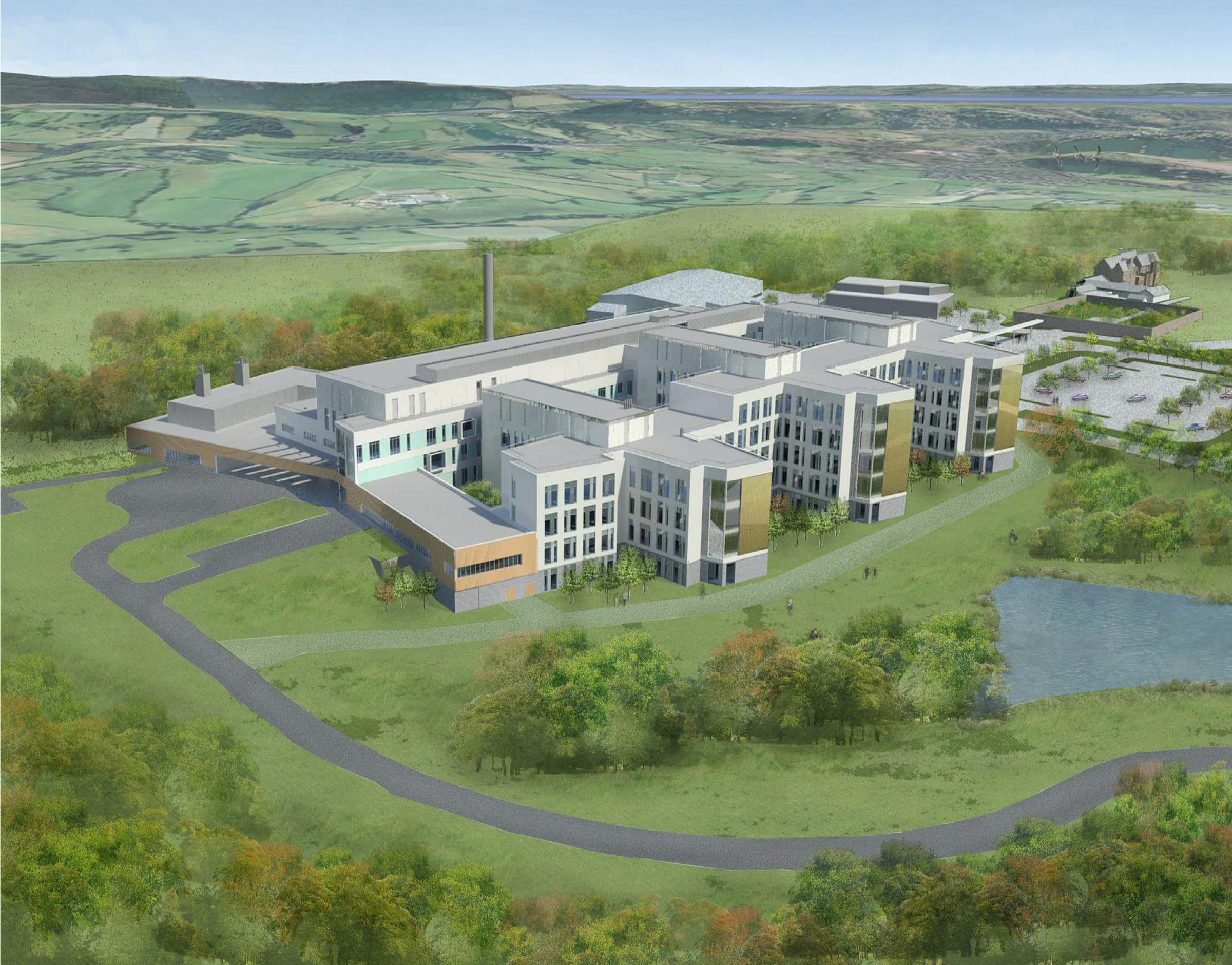 SUBMITTED PIC.ARTIST IMPRESSION OF SPECIALIST AND CRITICAL CARE CENTRE ON THE FORMER LLANFRECHFA GRANGE HOSPITAL SITE NEAR CWMBRAN.