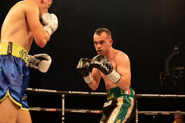 Sean McGoldrick on his way to victory over Dylan McDonagh in Cardiff. Picture: www.liamhartery.com