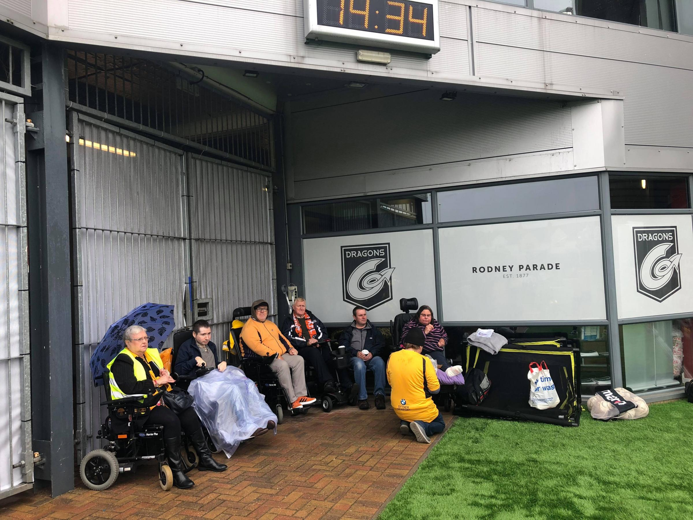 SOGGY: Newport County fans in wheelchairs were not able to access the disabled area on Saturday