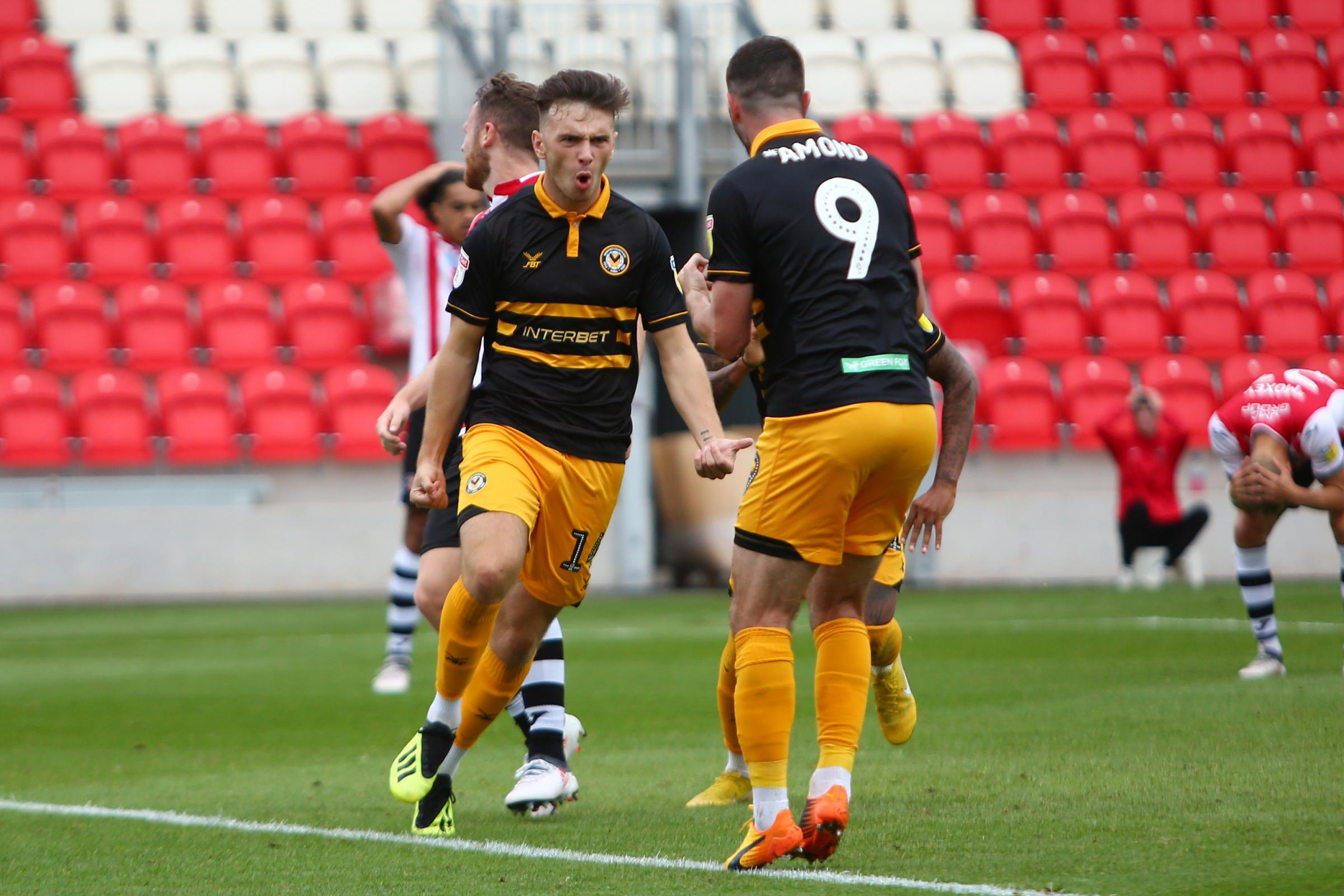 JOY: Newport County loan star Mark Harris celebrates his first senior goal at Exeter City in August