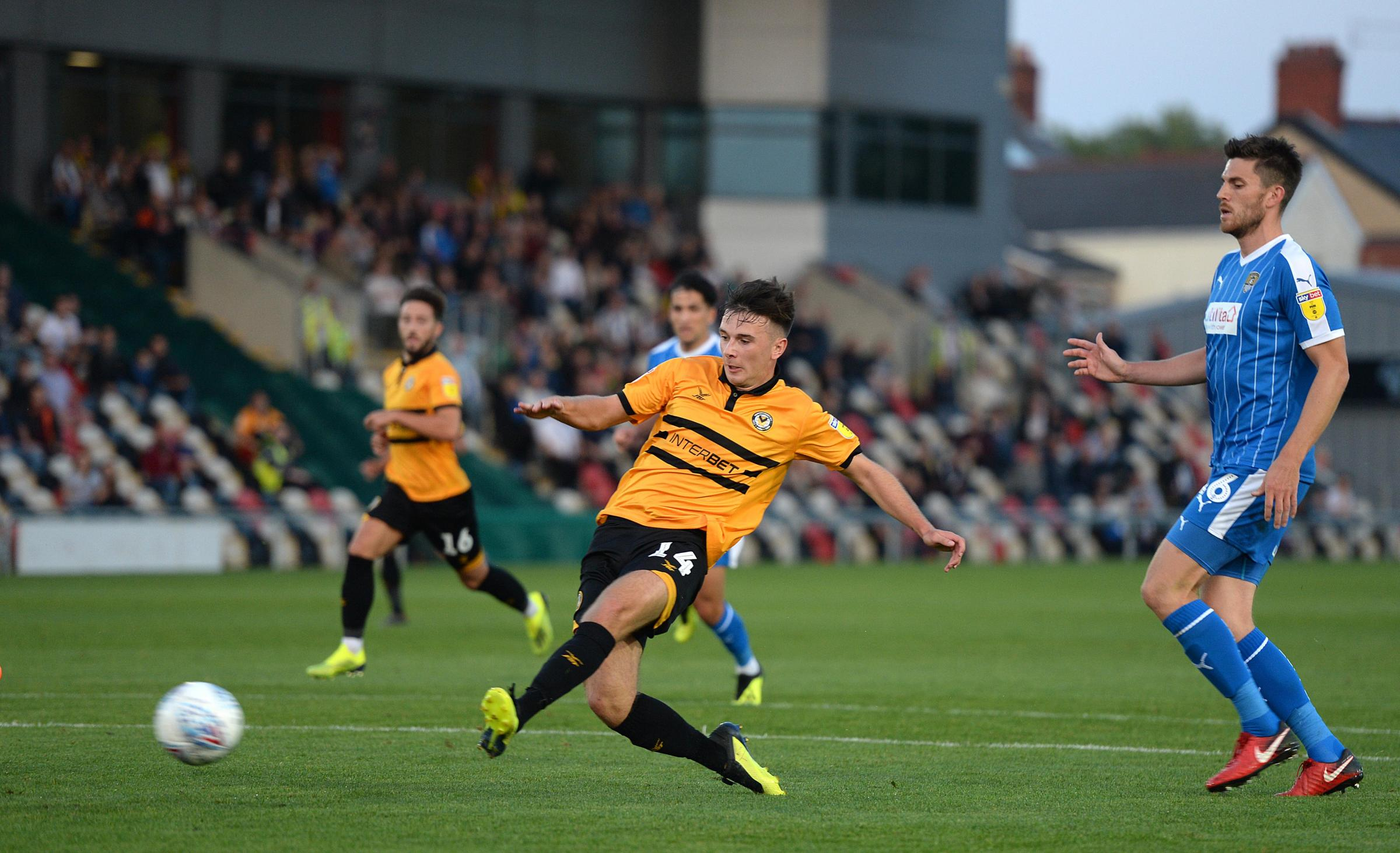GOAL: Mark Harris puts Newport County 2-1 up against Notts County. Pictures: Huw Evans Agency