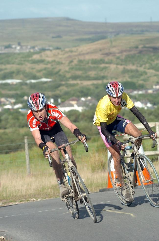 BACK IN THE DAY: Geraint Thomas, left, and Ireland's Dan Martin battle it out during the Junior Tour of Wales in 2004
