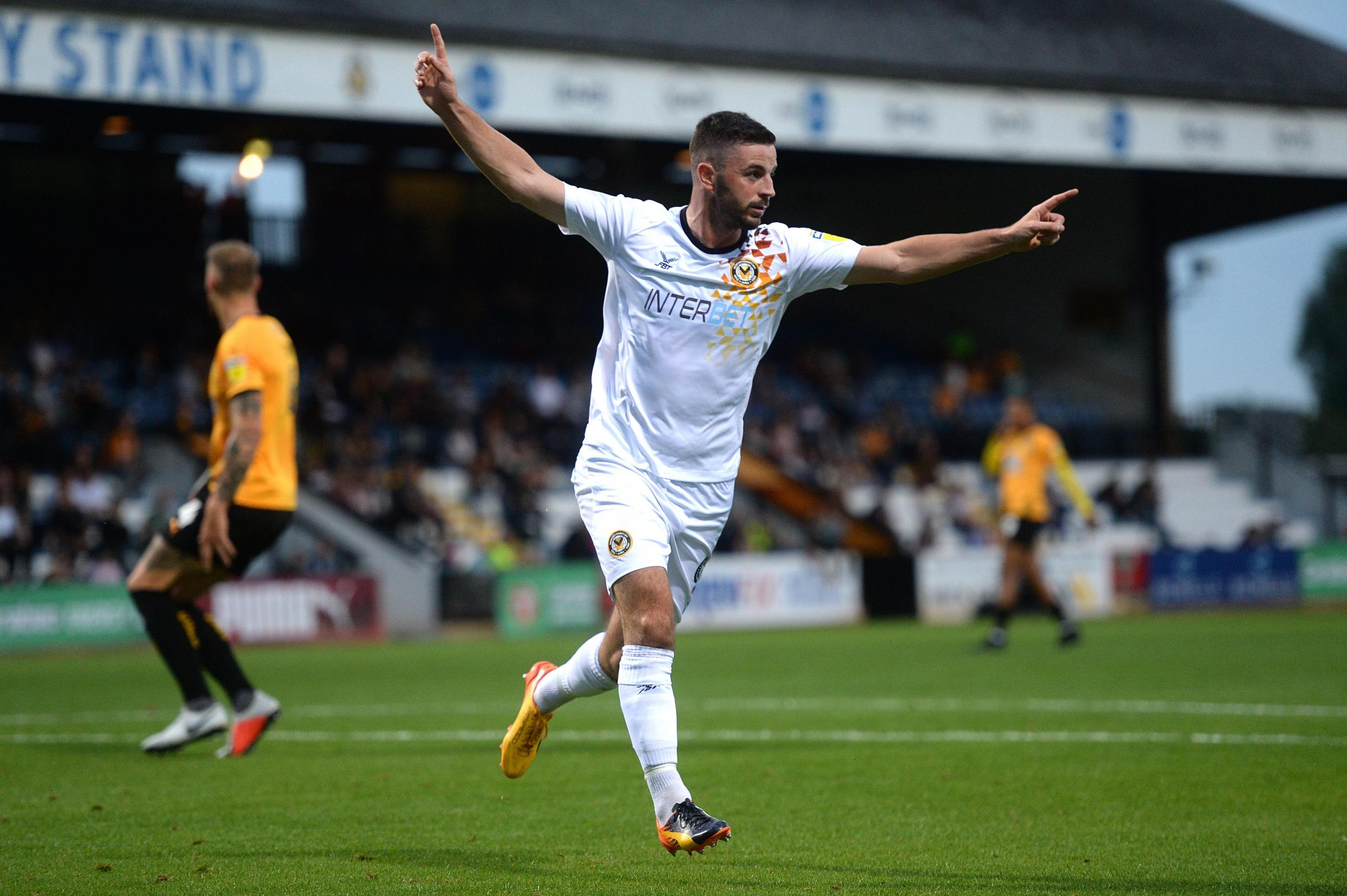 BRACE: Newport County striker Padraig Amond scored twice in the Carabao Cup first-round win at Cambridge United
