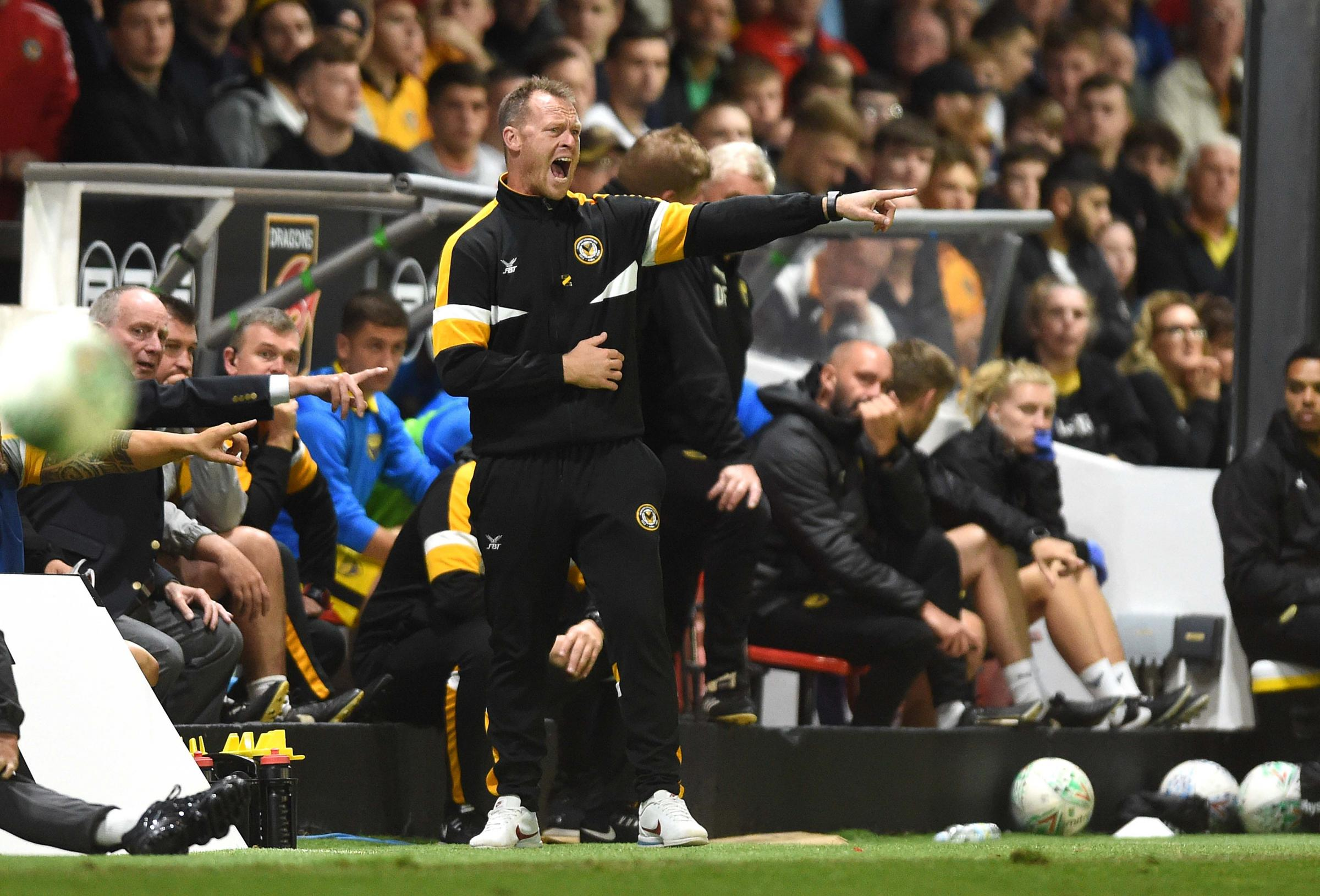 FRUSTRATED: Newport County boss Michael Flynn watched his side crash out of the Carabao Cup to Oxford United. Picture: Huw Evans Agency
