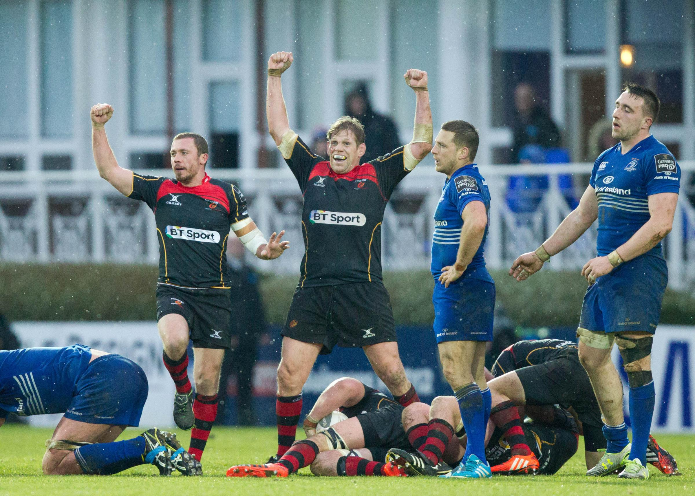 RARE IRISH WIN: Richie Rees and Rhys Thomas celebrate the Dragons' win at Leinster in 2015, a feat unlikely to be repeated on Saturday