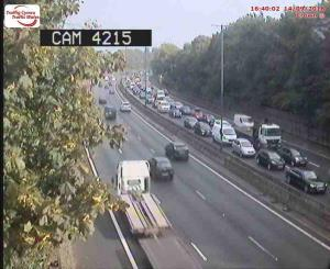 There are delays on the M4 eastbound after an accident at Junction 27