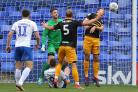 22.09.18 - Tranmere Rovers v Newport County - Sky Bet League 2 - Mickey Demetriou of Newport County heads away goal threat