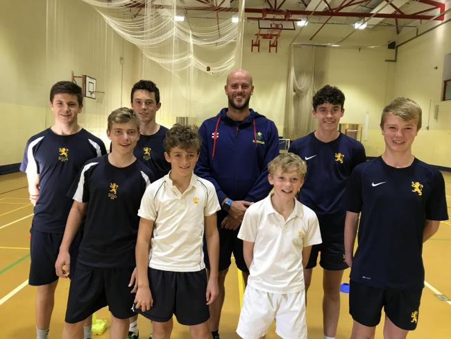 BRIGHT PROSPECTS: Glamorgan's assistant coach David Harrison with (back row, from left):  Freddy Harding, Joe Jenkins and Harry Friend.  Front row (from left):  Oskar Rice, Arthur Newington-Bridges, John Newington-Bridges and Will Morris.
