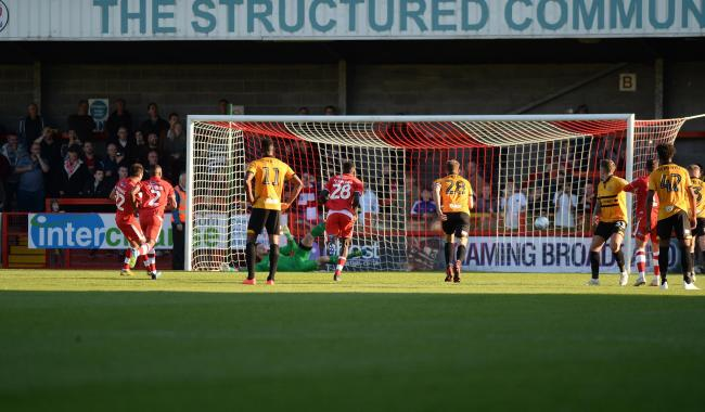 GOAL: Felipe Morais scores for Crawley in Newport's 2018 trip to Sussex