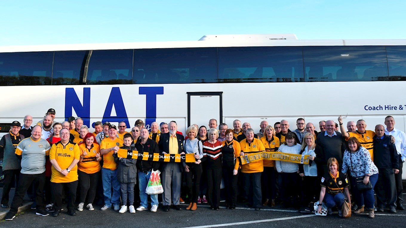 COMMITTED: Supporters Club members ready for Saturday's trip to Carlisle. Picture: Newport County AFC