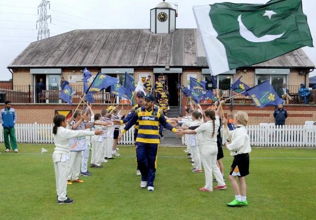 15.07.16 - Glamorgan Cricket v Pakistan A at Newport.Children from Newport Cricket Club welcome Glamorgan onto the pitch.
