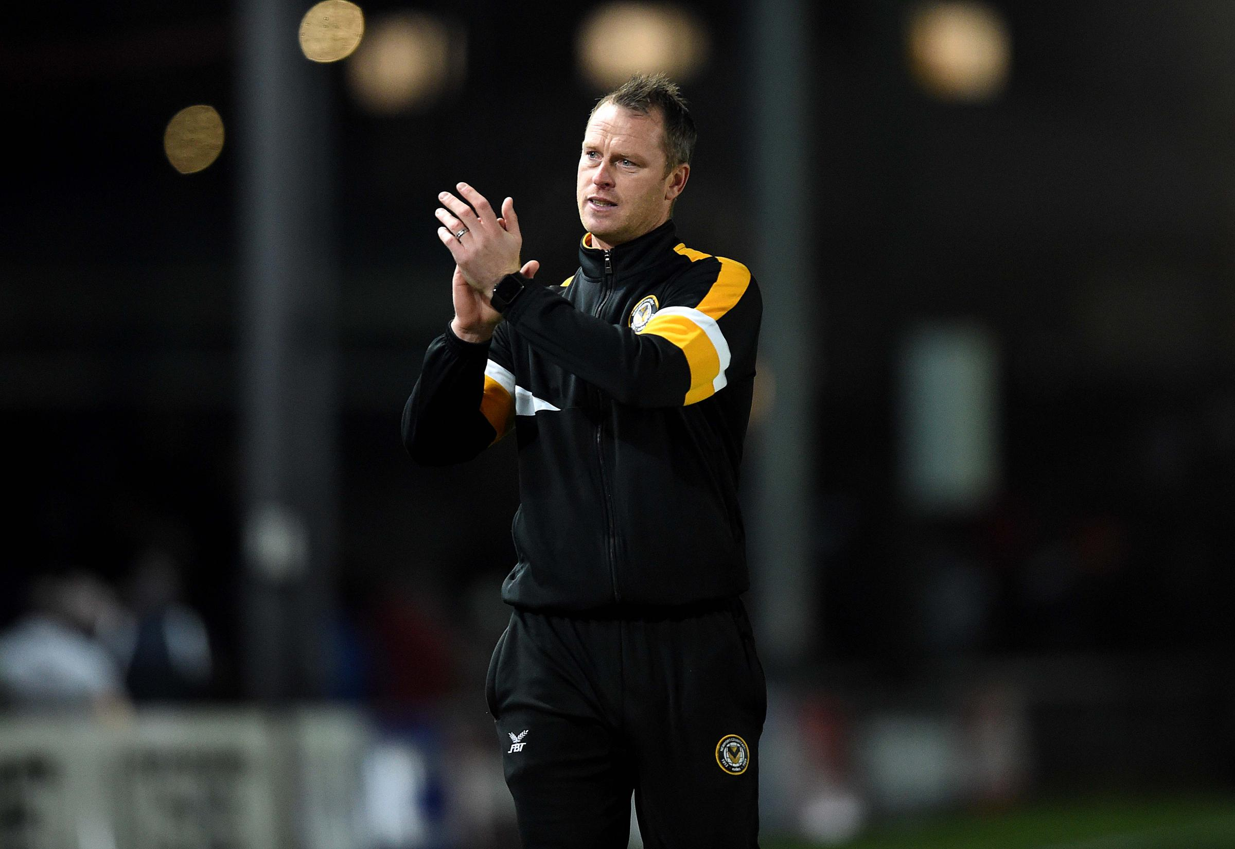 FOCUSED: Newport County boss Michael Flynn after the win over Northampton Town at Rodney Parade