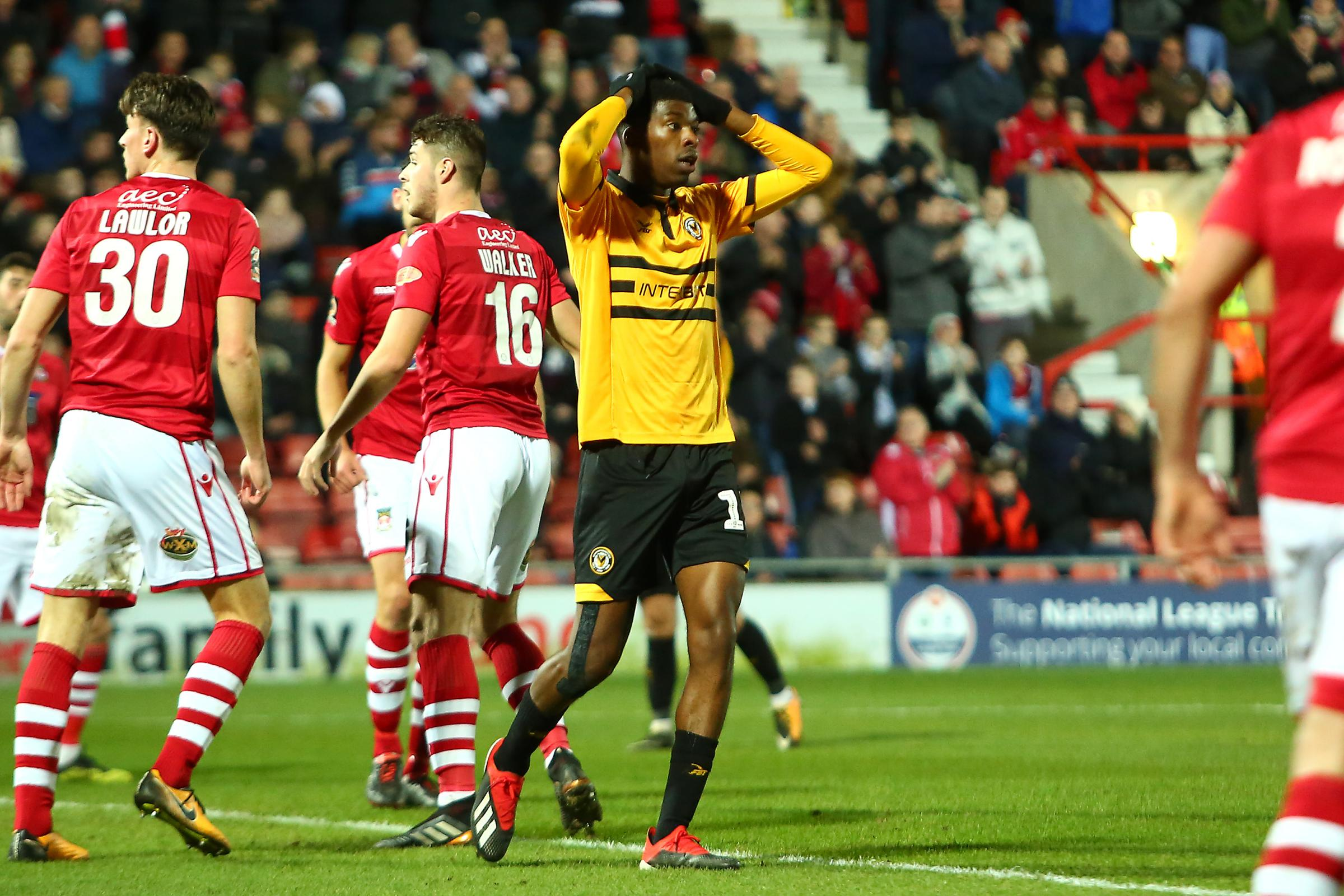 MISS: Newport County midfielder Tyreeq Bakinson squandered a chance against Wrexham. Pictures: Huw Evans Agency