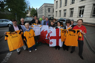 The group from Newport who will be taking football shirts to Georgia
