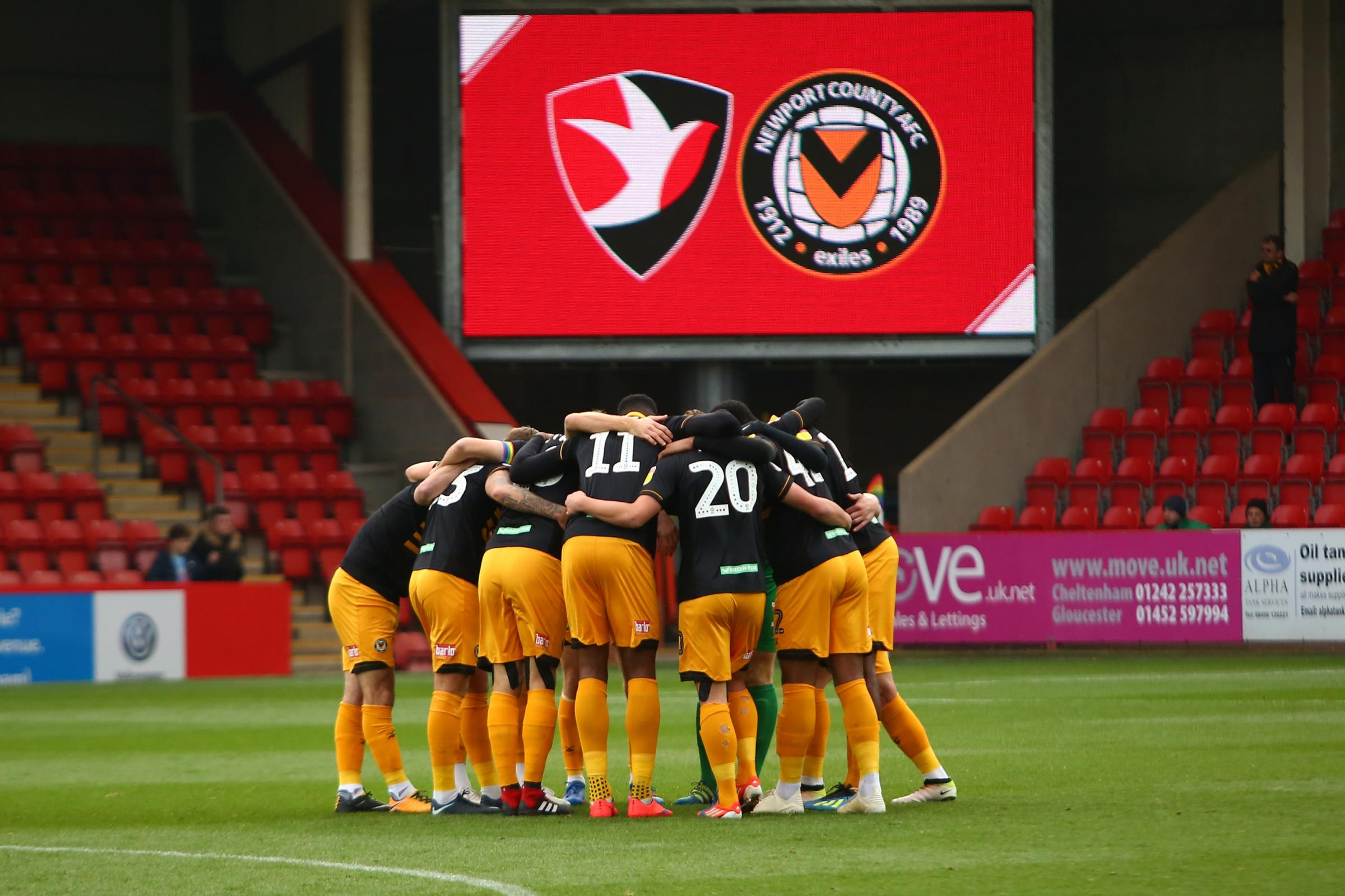 TOGETHER: Newport County take on Cheltenham Town in tonight's Checkatrade Trophy second-round tie at Whaddon Road