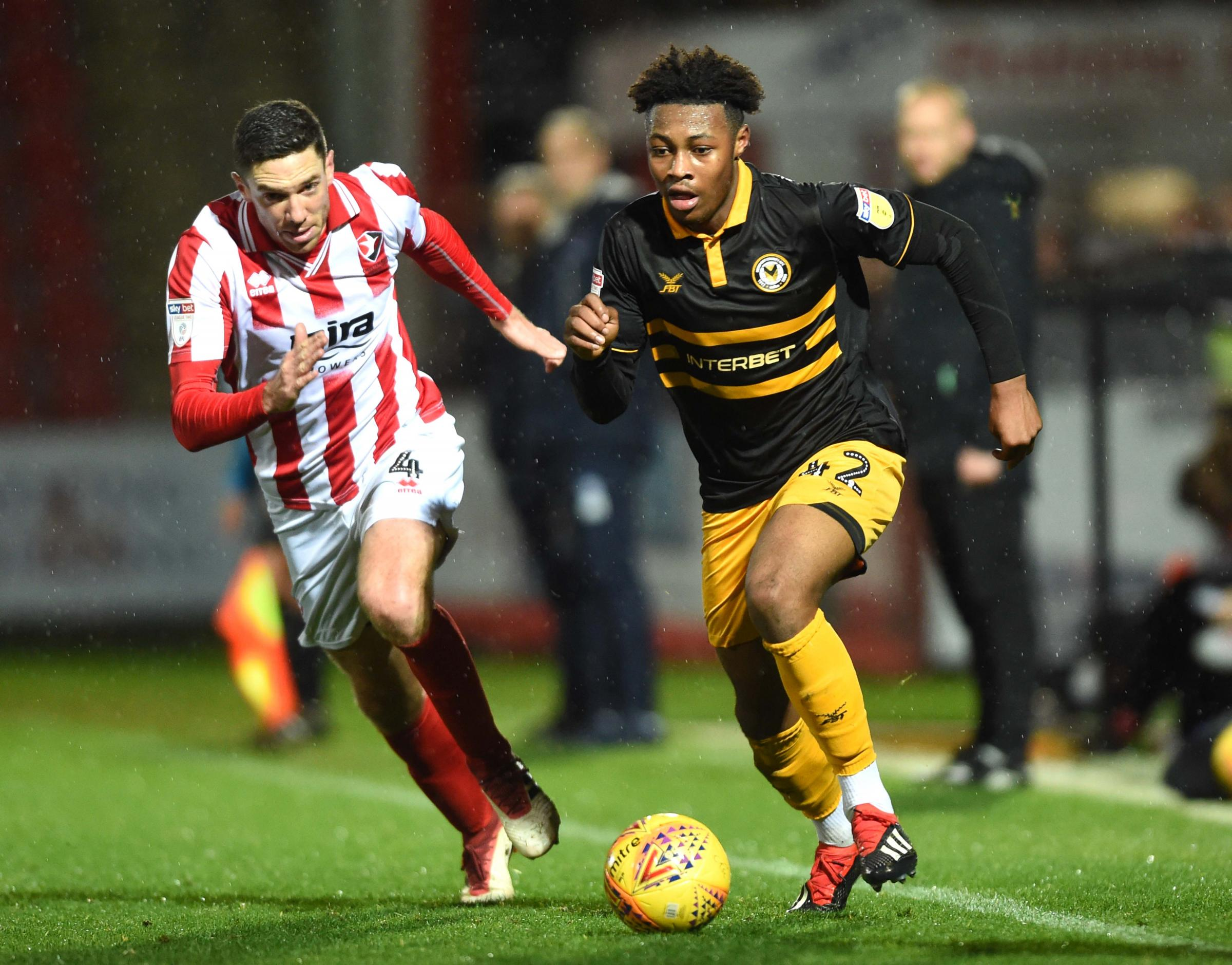 BATTLE: Antoine Semenyo in action for Newport County at Cheltenham Town. Pictures: Huw Evans Agency