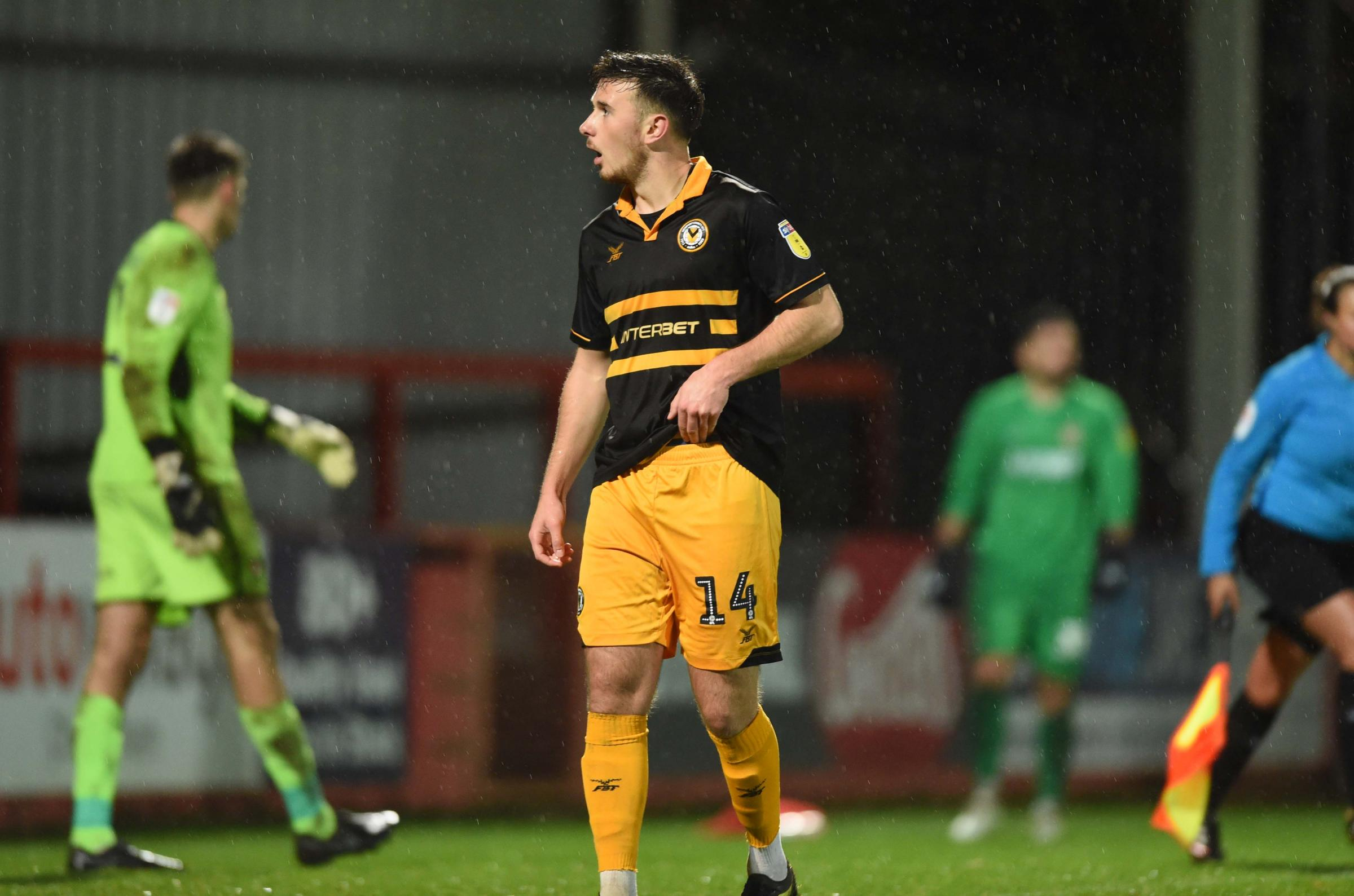 DEFEAT: Mark Harris saw his penalty saved as Newport County lost 7-6 in a shootout at Cheltenham Town to bow out of the Checkatrade Trophy on Tuesday. Pictures: Huw Evans Agency