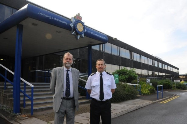 POLICE: Jeff Cuthbert and Julian Williams outside Gwent Police HQ