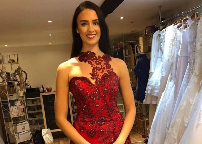 Miss Wales Bethany Harris in the dress made by her friend Lenka Kmecova for the Miss World competition in China