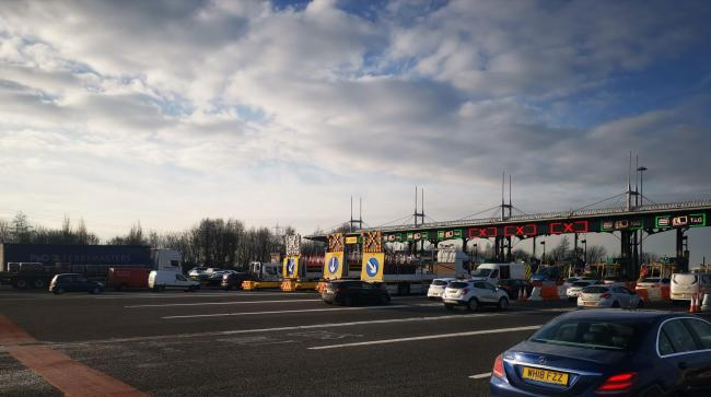 The closures at Second Severn Bridge toll booths on the M4. Picture:  Lewis Holmes