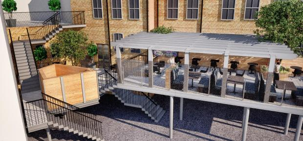 South Wales Argus: An image showing how the beer garden could look when completed
