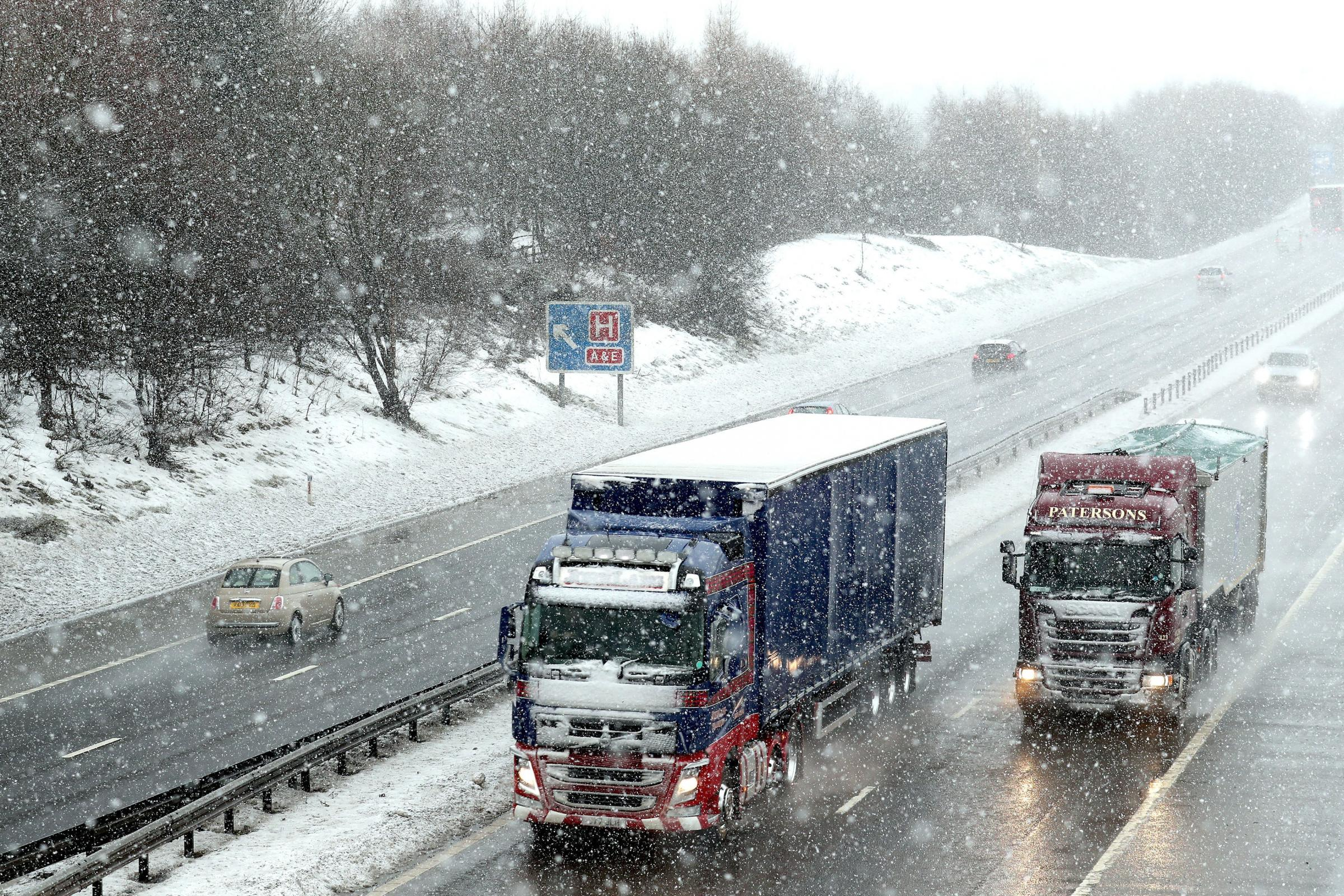 Lorries in the snow