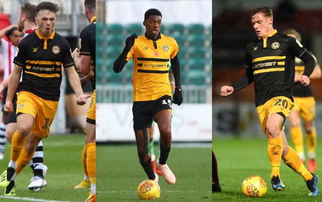 TALKS: Newport County are hopeful of keeping loan stars Mark Harris, left, Tyreeq Bakinson, centre, and Cameron Pring, right