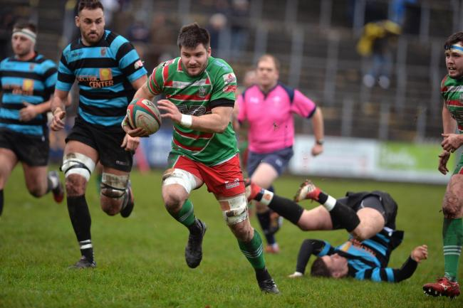 TOUCHDOWN: Lewis Young scored for Ebbw Vale against Carmarthen Quins. Picture from files: christinsleyphotography.co.uk