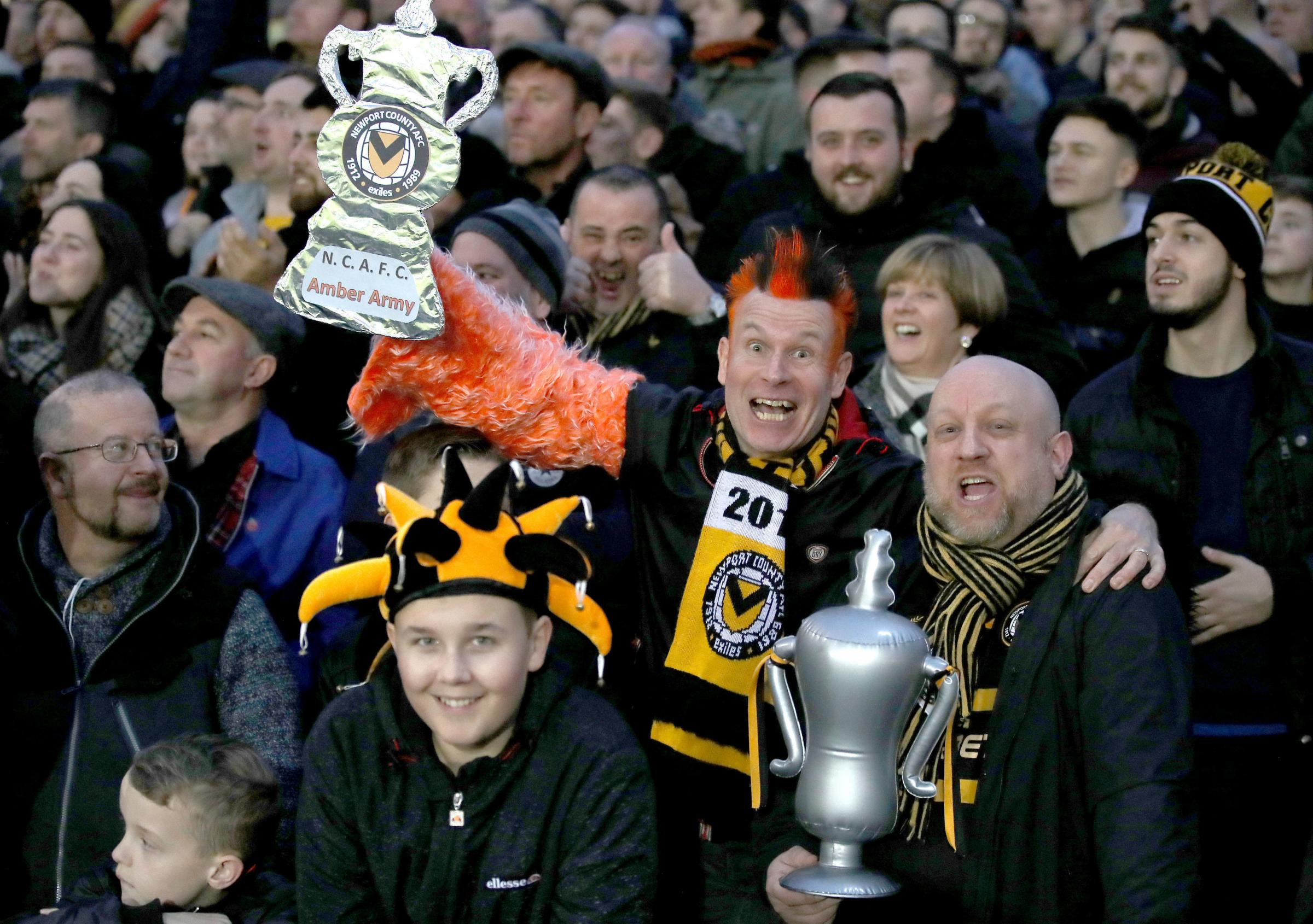 MEMORIES: Newport County fans soaking up the magic of the FA Cup on Sunday as their side beat Leicester City at Rodney Parade