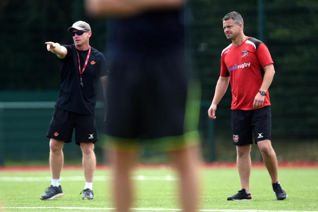 CALLING THE SHOTS: Dragons backs coach Barry Maddocks (left) and skills coach Alan Kingsley (right)