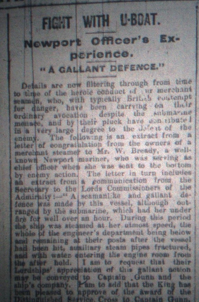 The South Wales Argus story featuring Mr Bready - January 11 1919