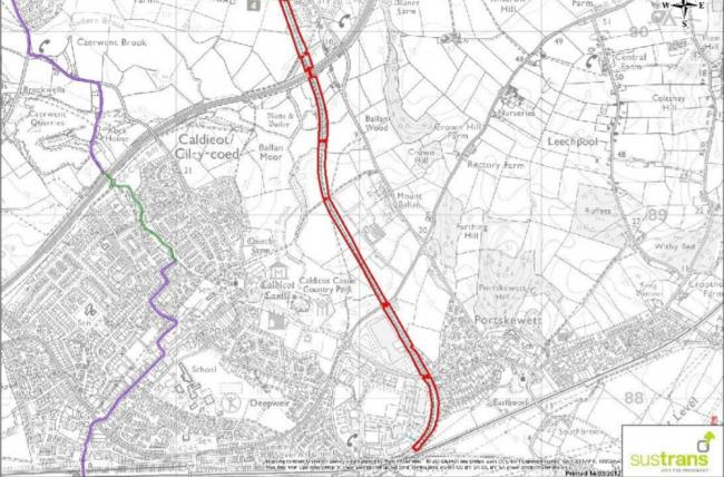 A map of the MOD railway line between Caldicot and Caerwent