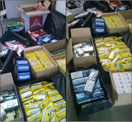 Illegal tobacco and cigarettes with an approximate retail value of £56,000 were seized during the operation. Picture: Torfaen Council