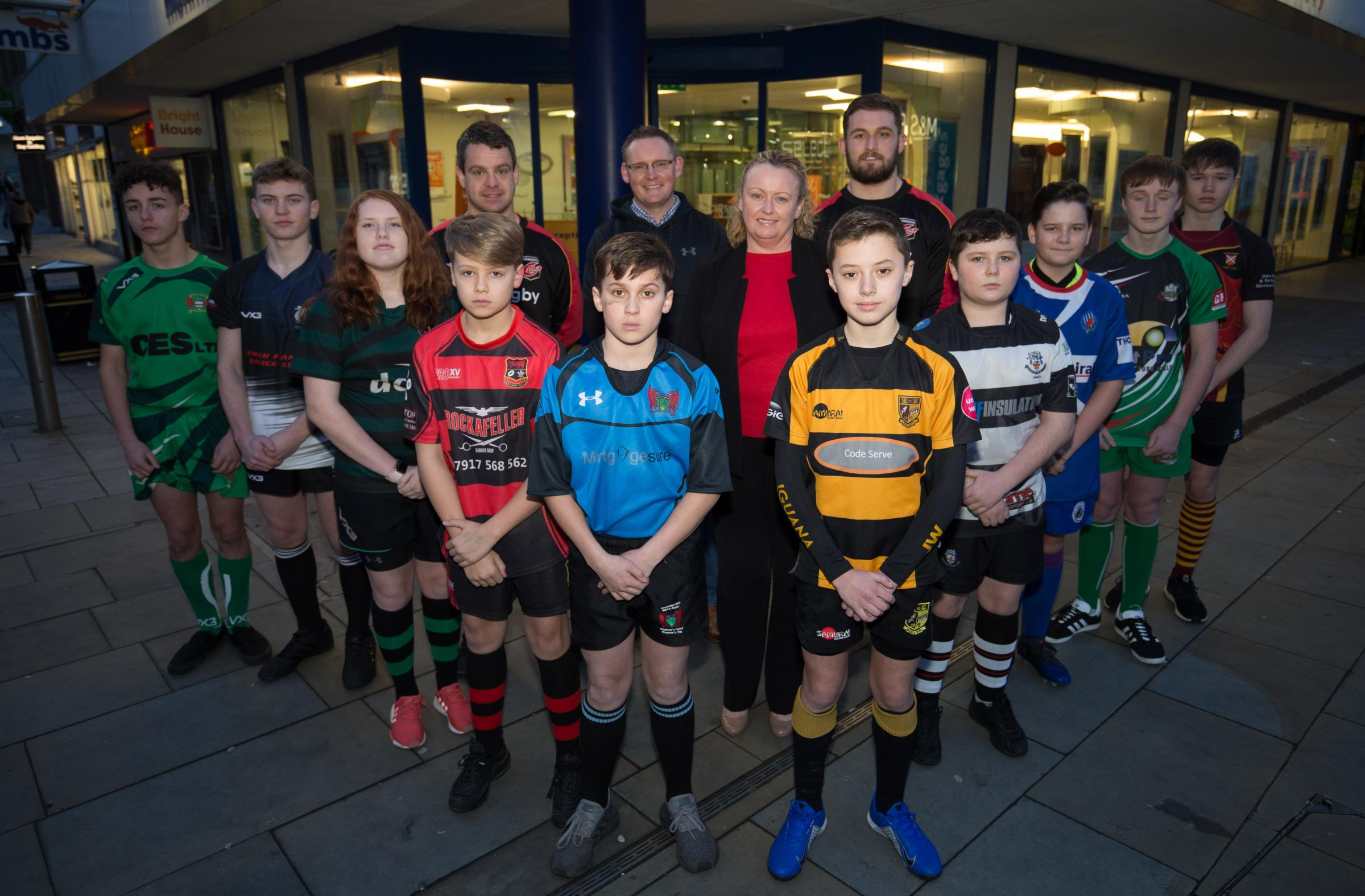 CUP CLASHES: Players from the semi-finalists with the Dragons' Harri Keddie and Alan Kingsley and Monmouthshire Building Society's Adrian Evans and Dawn Gunter