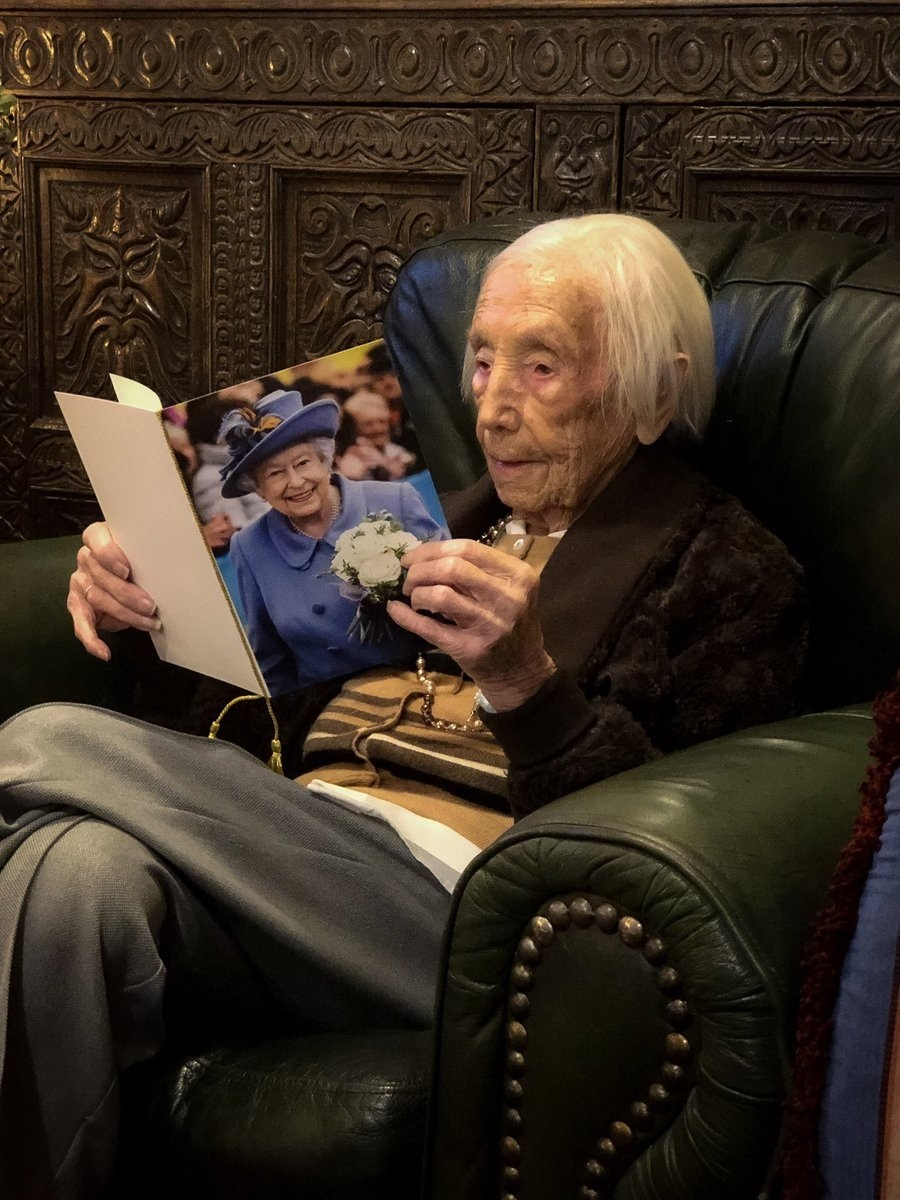 Amy Hawkins, 108 this week, reading her birthday card from the Queen. Picture Hannah Freeman
