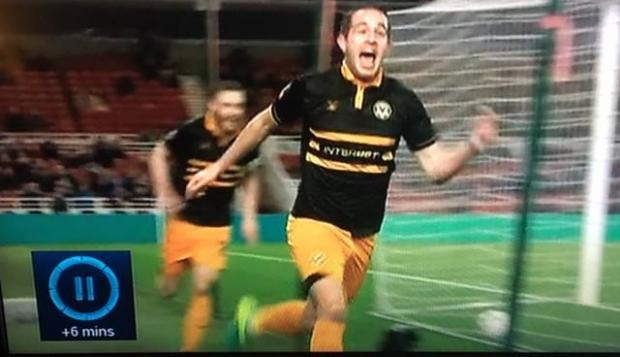 South Wales Argus: Phil Tanner captured Matty Dolan's celebration. Back of the net! Picture: BBC