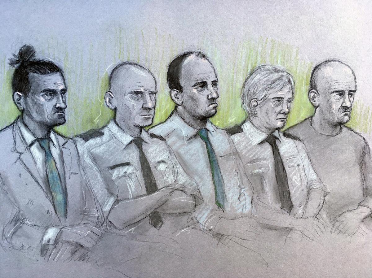 Court artist sketch of (L-R) David Osborne, male dock officer, Ieuan Harley, female dock officer and Darran Evesham, during their trial at Newport Crown Court over the alleged murder of convicted child killer David Gaut. Picture: Elizabeth Cook/PA Wire