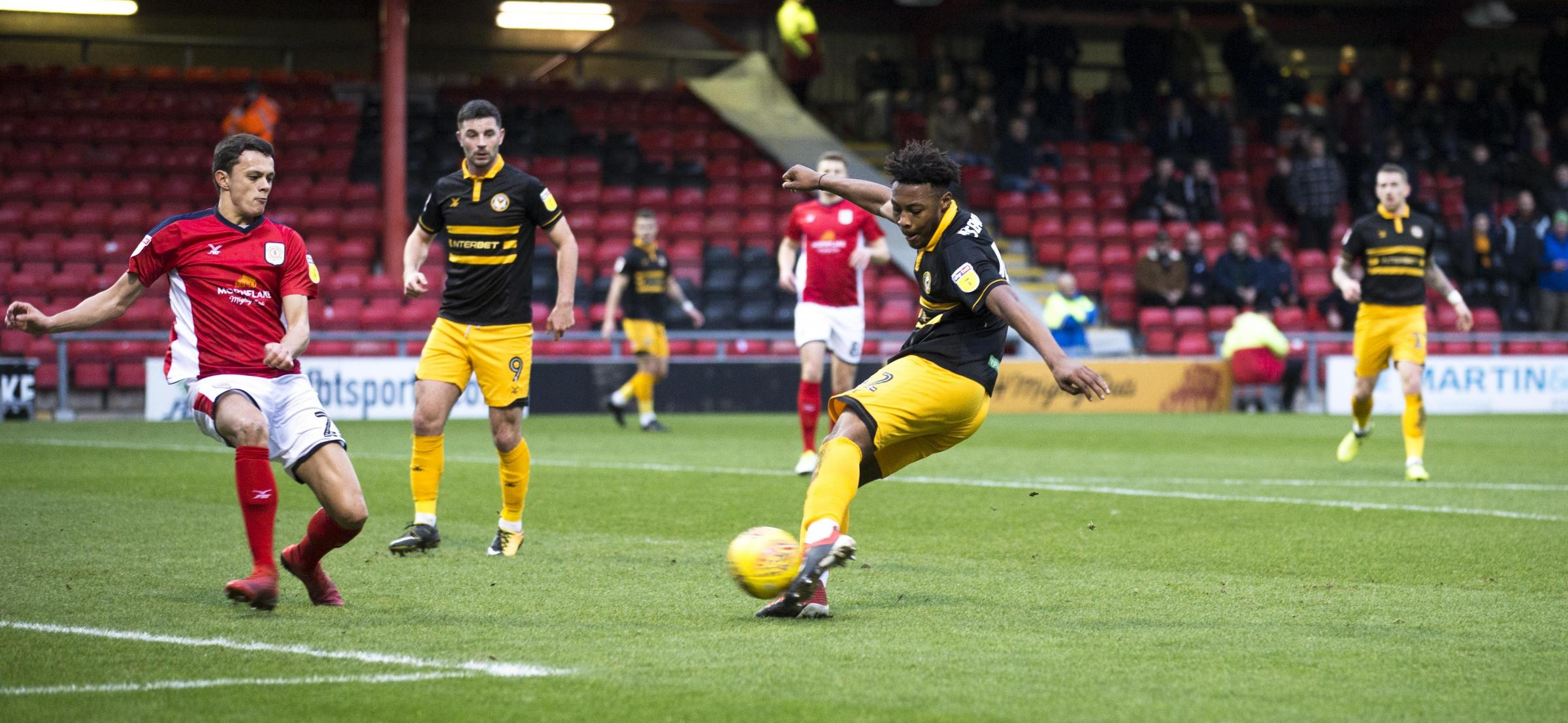 TALENT: Padraig Amond watches Antoine Semenyo in action for Newport County at Crewe Alexandra last month. Pictures: Huw Evans Agency