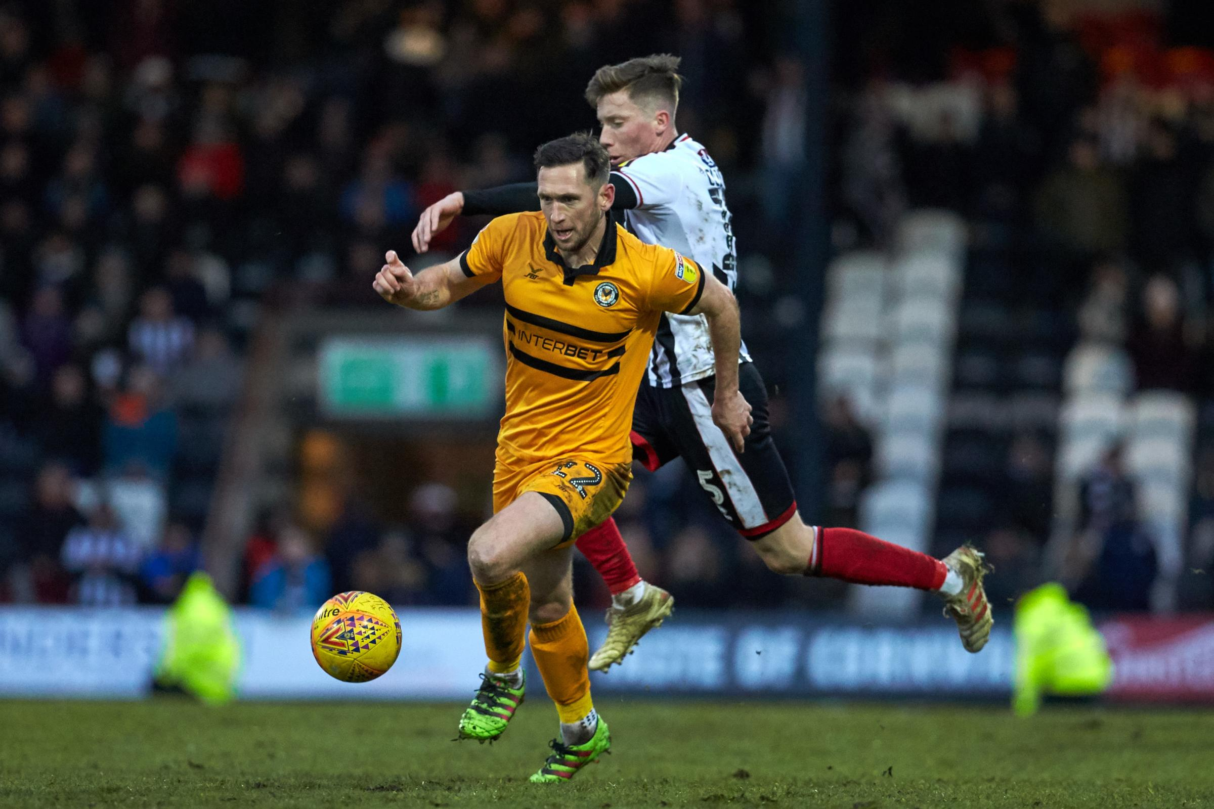 INJURED: Midfielder Andrew Crofts hasn't featured for Newport County since the defeat at Grimsby Town on February 2. Pictures: Huw Evans Agency