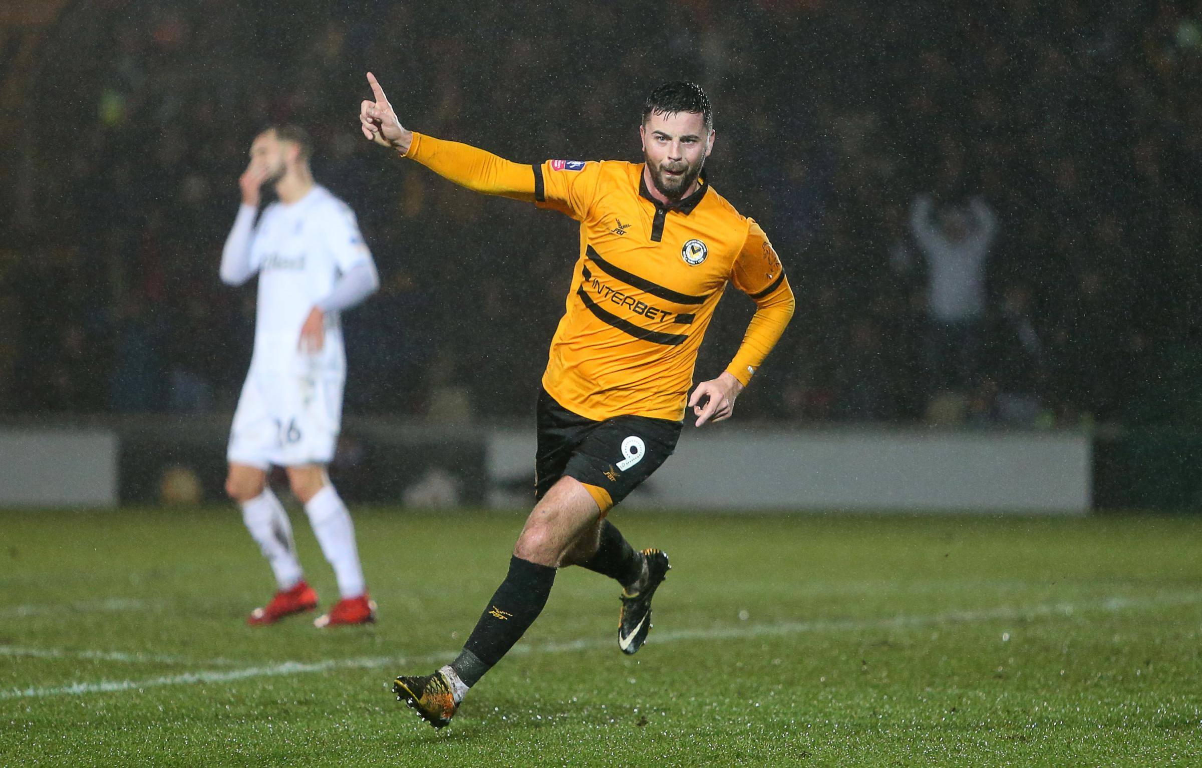 GOAL: Padraig Amond celebrates his super strike to put Newport County 2-0 up against Middlesbrough