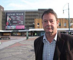 Newport council leader Matthew Evans in Newport's John Frost Square, the site of the proposed Friars Walk scheme