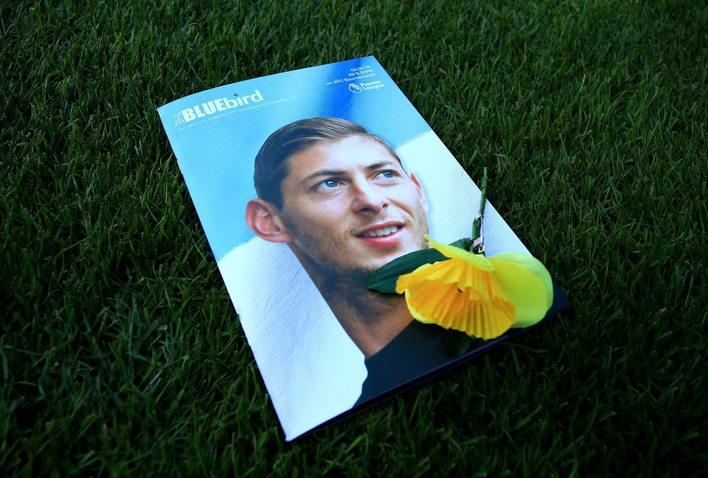 File photo dated 02-02-2019 of A view of the match day programme with an image of Emiliano Sala on the cover. PRESS ASSOCIATION Photo. Issue date: Frday February 8, 2019. Emiliano Sala will forever remain in the thoughts of Cardiff City, the club said, as