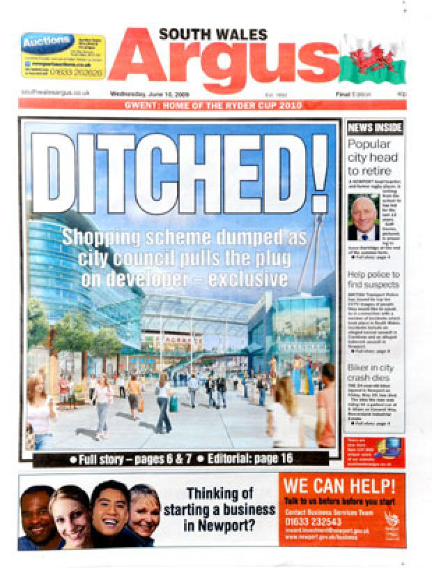 South Wales Argus: EXCLUSIVE: The Argus front page from yesterday