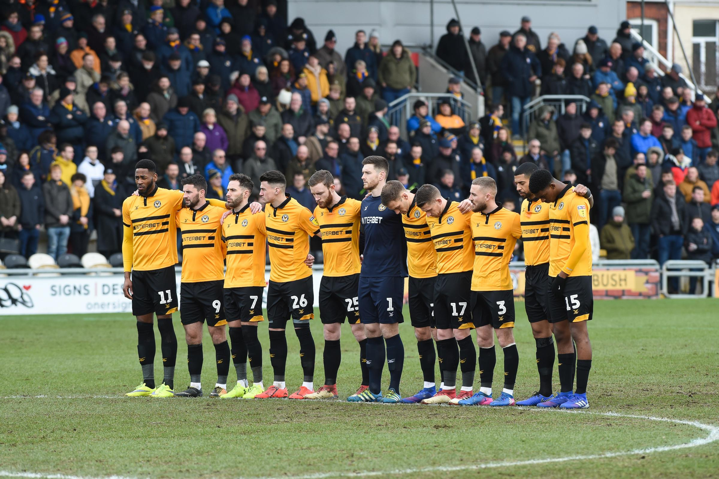 TOGETHER: Newport County will battle it out with Mansfield Town today for a place in the League Two play-off final at Wembley. Pictures: Huw Evans Agency
