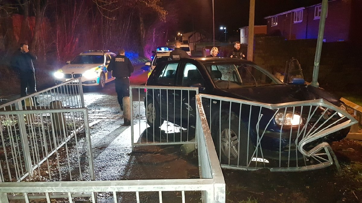 Dramatic end to police chase as stolen car smashes into barriers. Picture: Gwent Police/Twitter