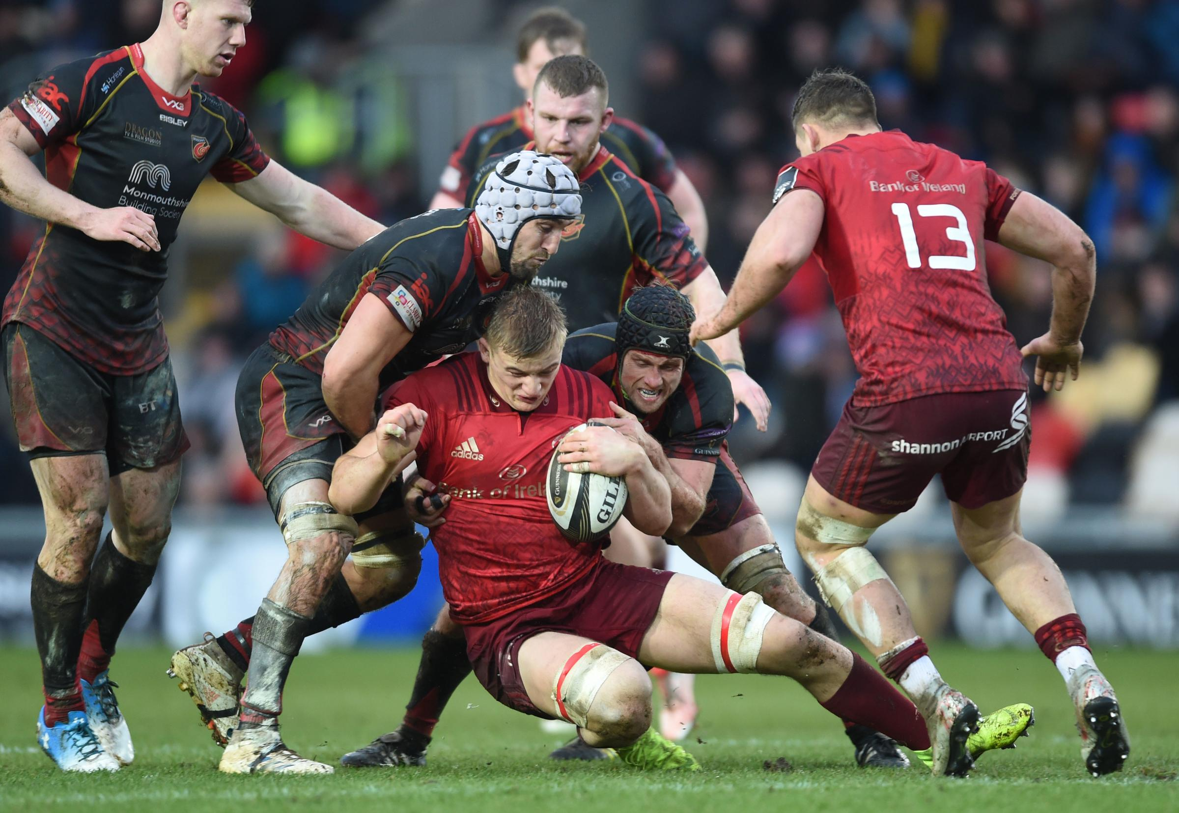 RESILIENT: The Dragons defended strongly against Munster in the Guinness PRO14 clash at the end of last month